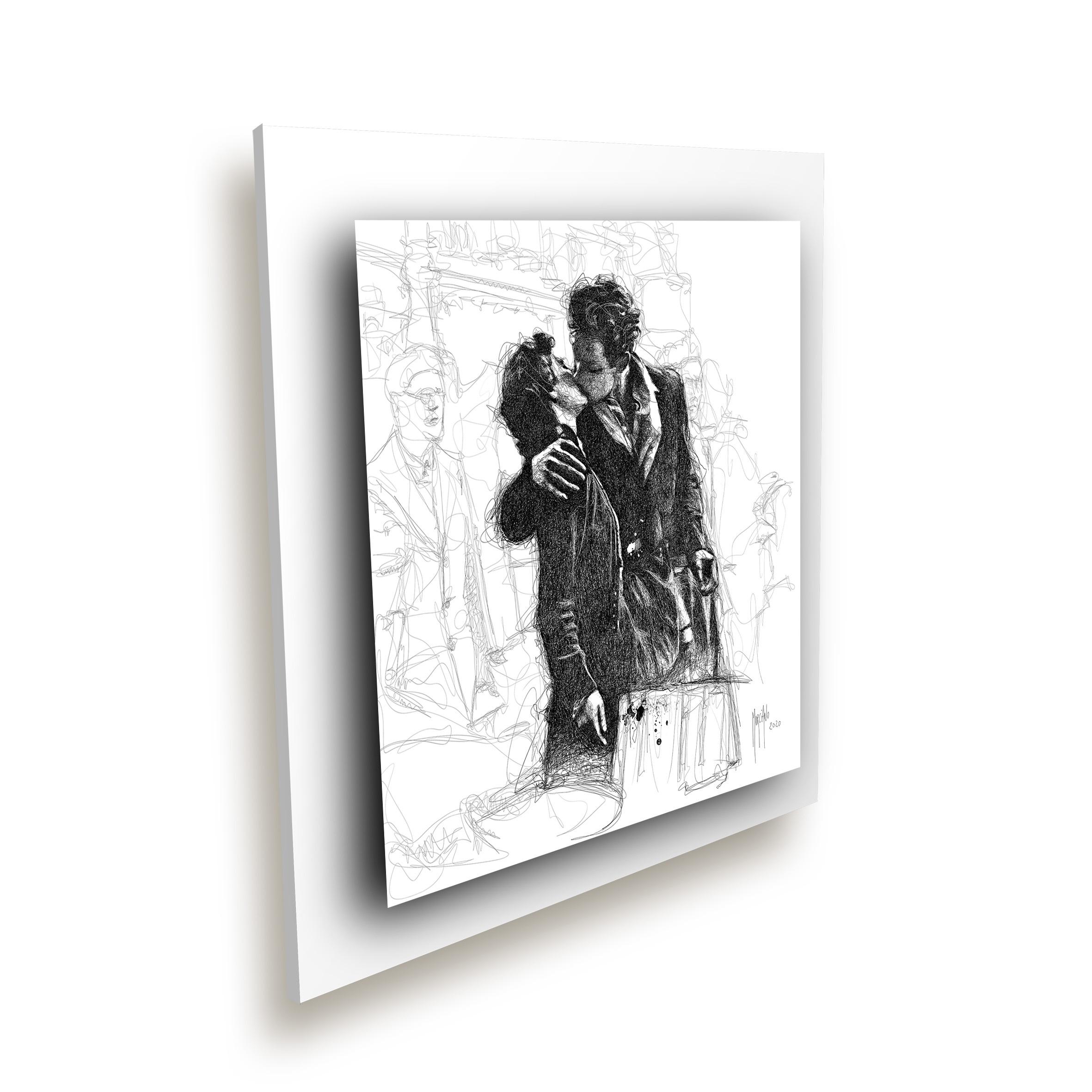 Le baiser de l'hôtel de ville blanc ice millenium - Oeuvre Patrice Murciano