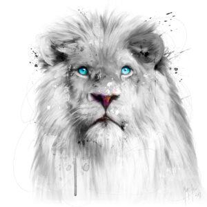 Lion White - Poster PREMIUM authentique de Patrice MURCIANO