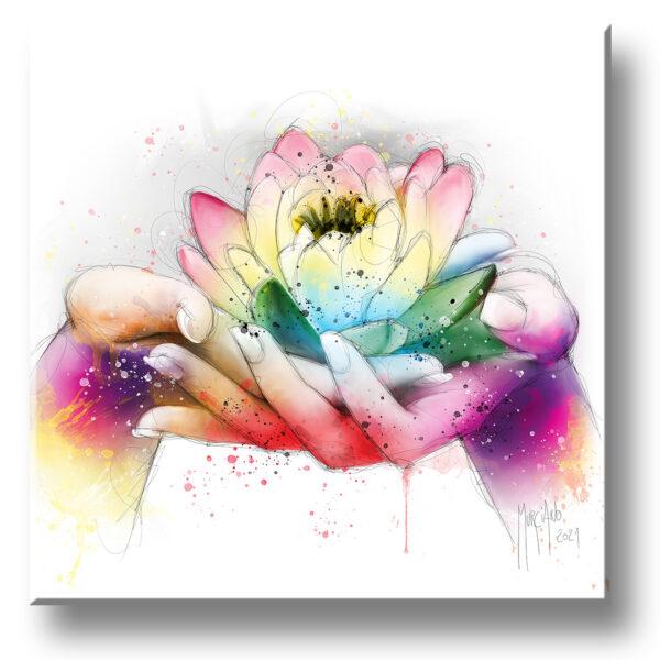 Lotus fleur peinture toile murciano