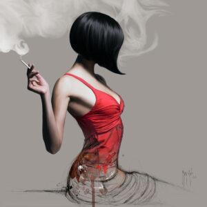 La Fille En Rouge-Poster PREMIUM authentique de Patrice MURCIANO